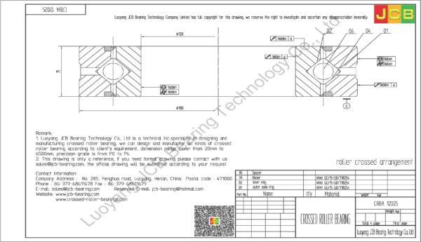 CRBA 12025 HIWIN CROSSED ROLLER BEARING