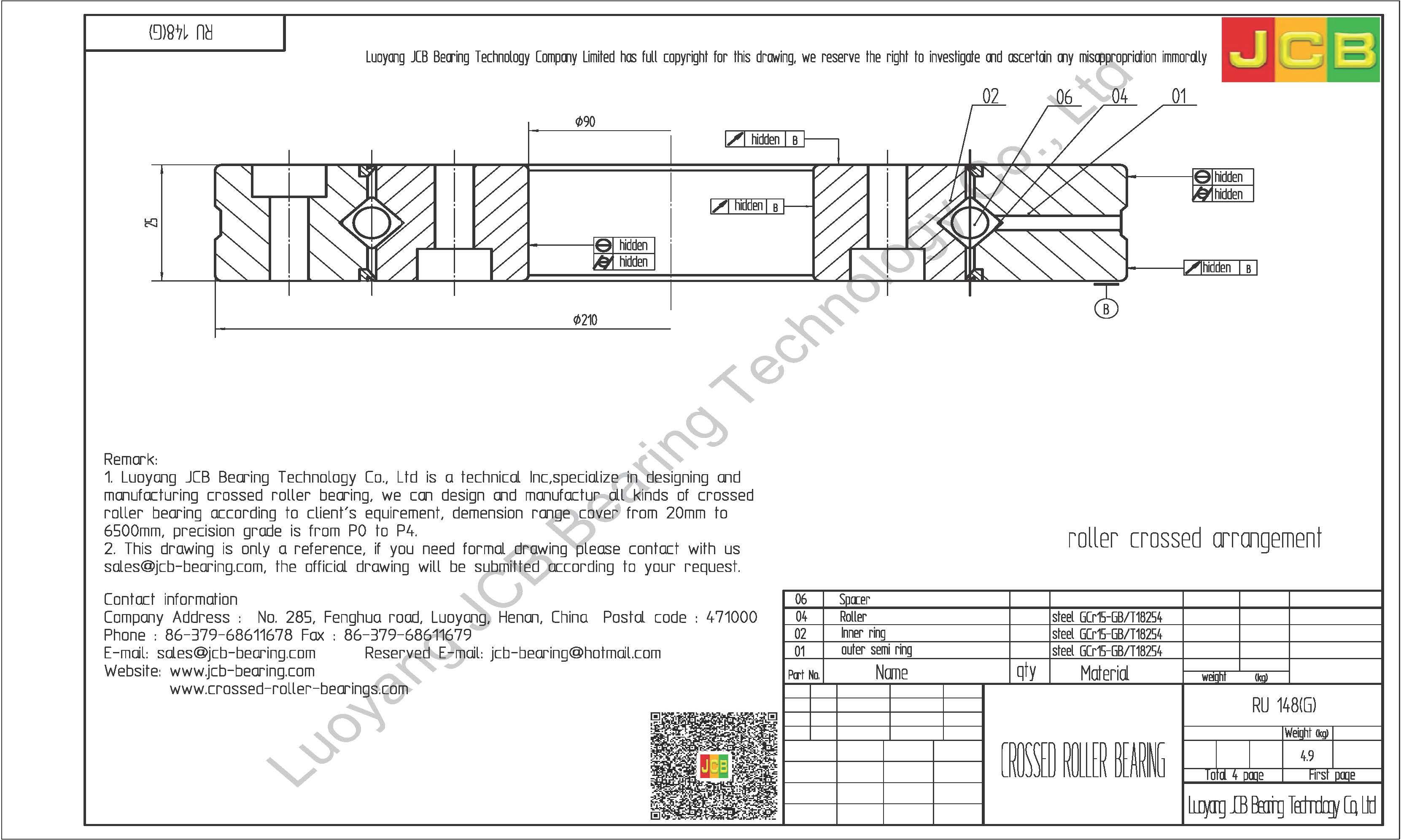 RU 148(G) THK CROSSED ROLLER BEARING