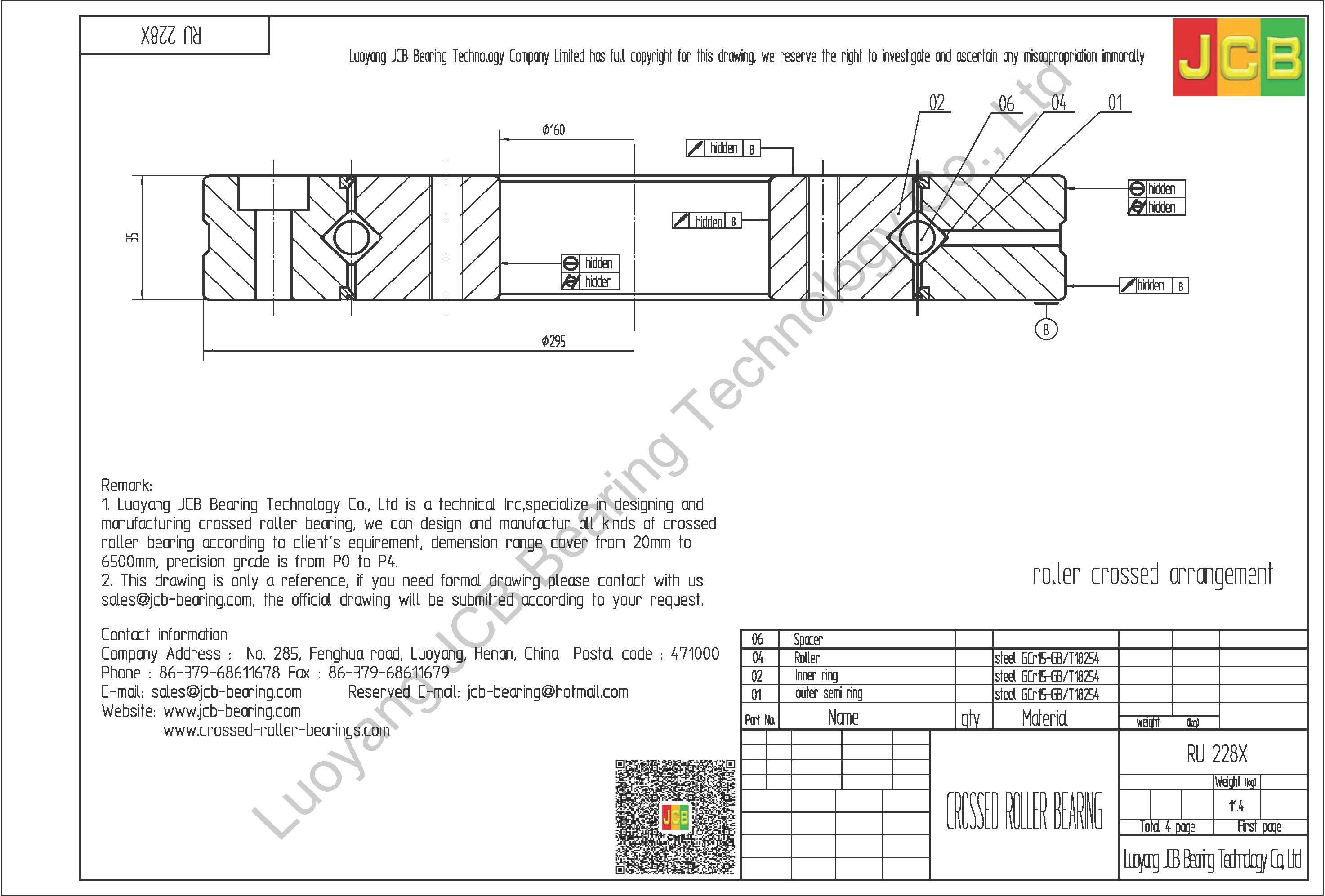 RU 228X THK CROSSED ROLLER BEARING